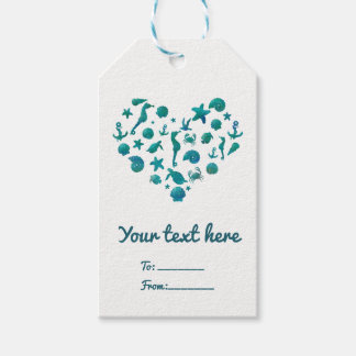 Beach Things Teal Watercolor Modern Chic Elegant Gift Tags