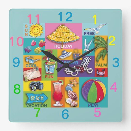 Beach Time Collage wall clock