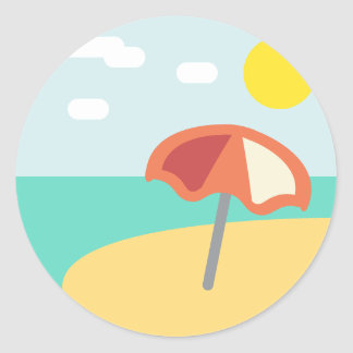 Beach Time Emoji Classic Round Sticker