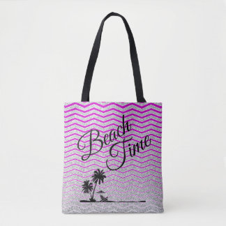 Beach Time Silver Pink Stripe Beach Tote
