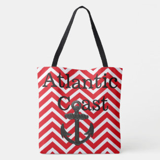 beach tote bag anchor Atlantic Coast red chevron