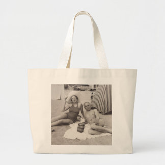Beach tote with a vintage travel poster jumbo tote bag
