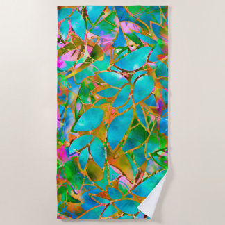 Beach Towel Floral Abstract Stained Glass