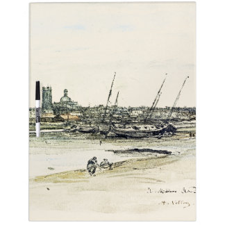 Beach Town Boats Dieppe France Sea Dry Erase Board