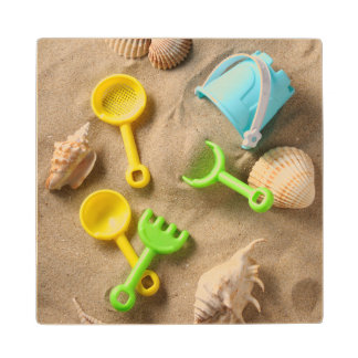 Beach Toys Wood Coaster
