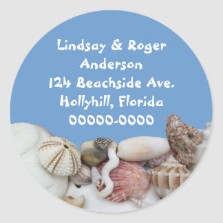 Beach Treasures on Blue, Address Label Round Sticker