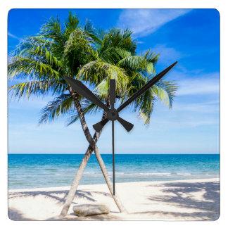 Beach tropical palm tree summer paradise photo square wall clock