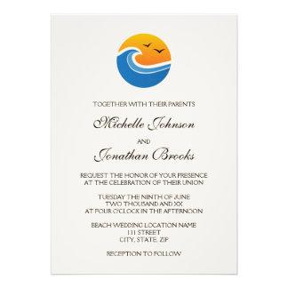 Beach tropical wave with birds wedding invitation