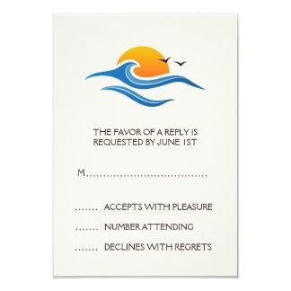 "Beach tropical wave with birds wedding RSVP card 3.5"" X 5"" Invitation Card"
