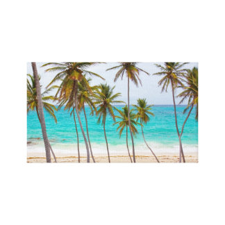 Beach Tropical with Palm Trees Canvas Print