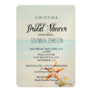 Beach Tropical with Starfish bridal shower 5x7 Paper Invitation Card