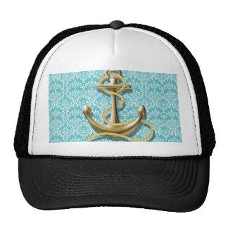 beach turquoise damask sailor nautical anchor cap