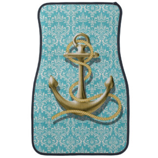 beach turquoise damask sailor nautical anchor car mat