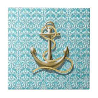 beach turquoise damask sailor nautical anchor tile