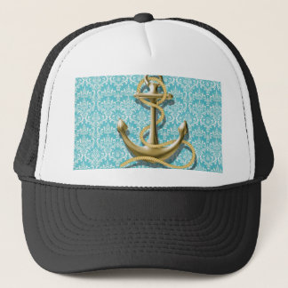 beach turquoise damask sailor nautical anchor trucker hat