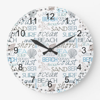 Beach Typography Large Clock
