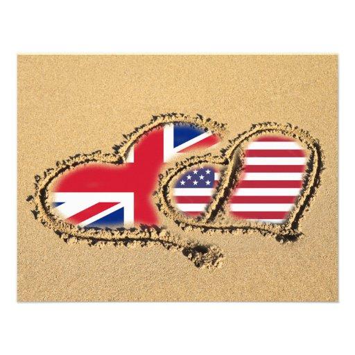 Beach UK And USA Love Hearts Custom Invitations