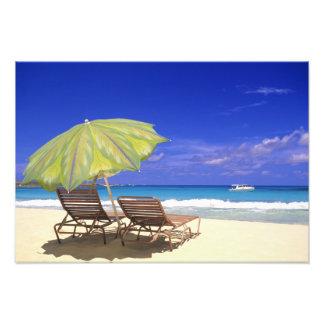 Beach Umbrella, Abaco, Bahamas Art Photo