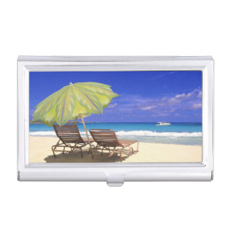 Beach Umbrella, Abaco, Bahamas Business Card Holder
