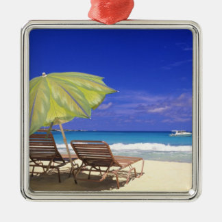 Beach Umbrella, Abaco, Bahamas Silver-Colored Square Decoration