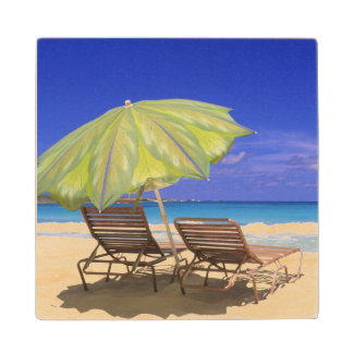 Beach Umbrella, Abaco, Bahamas Wood Coaster