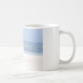 Beach Umbrella and Ocean Basic White Mug