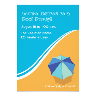 Beach Umbrella Summer Party 13 Cm X 18 Cm Invitation Card