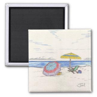 BEACH UMBRELLAS magnet (square)