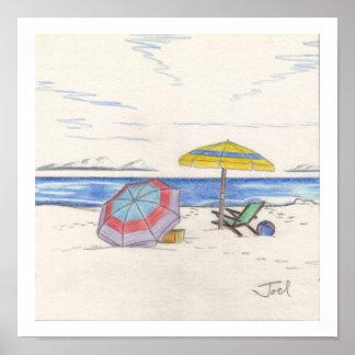 "BEACH UMBRELLAS print (7.33""x7.33"")"