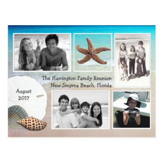Beach Vacation Multi-photo Seashell Greeting Postcard