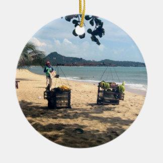Beach Vendings ... Lamai Beach, Koh Samui Island Christmas Ornament