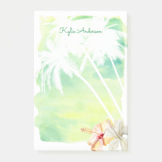 Beach Vibes Palm Trees Watercolor   Personalized Post-it Notes
