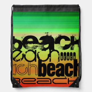 Beach; Vibrant Green, Orange, & Yellow Drawstring Bag