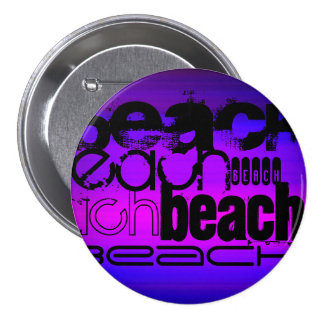 Beach; Vibrant Violet Blue and Magenta 3 Inch Round Button