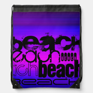 Beach; Vibrant Violet Blue and Magenta Drawstring Bag