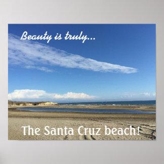 Beach view at the Santa Cruz Boardwalk Poster