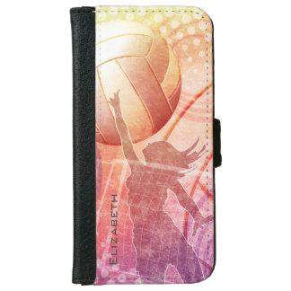 beach volleyball at sunset women's iPhone 6 wallet case
