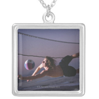 Beach Volleyball Game 2 Silver Plated Necklace