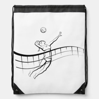 Beach Volleyball Spike Female Drawstring Bag