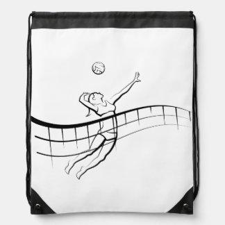 Beach Volleyball Spike Female Drawstring Bag