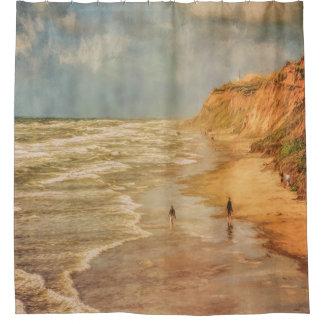 Beach walk by the ocean shower curtain
