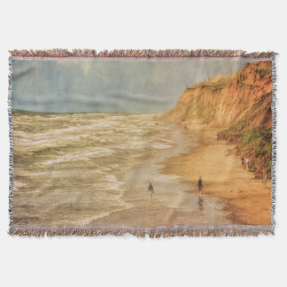 Beach walk by the ocean vintage looking throw blanket