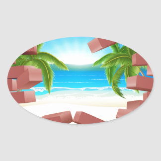 Beach Wall Concept Oval Sticker