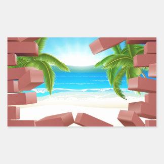 Beach Wall Concept Rectangular Sticker