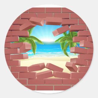 Beach Wall Concept Round Sticker