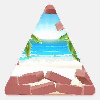 Beach Wall Concept Triangle Sticker