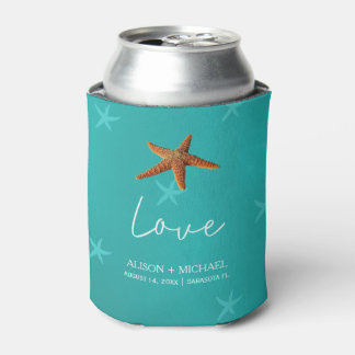 Beach water aqua blue your names starfish wedding can cooler