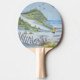 Beach watercolor ping pong paddle