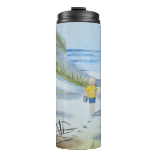 Beach watercolor thermal tumbler
