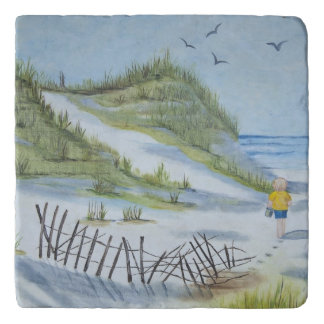 Beach watercolor trivet